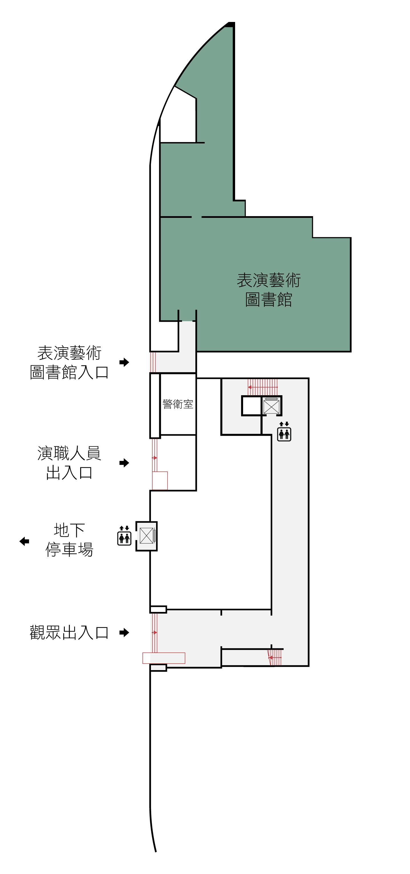 歡迎您來到國家戲劇院B樓,進入觀眾入口後,背對入口,右側即為通往G樓之樓梯,往左方直走約20公尺,可以搭乘電梯往G樓。電梯於節目演出時間,開放置各樓層,平日僅開放B樓、G樓。